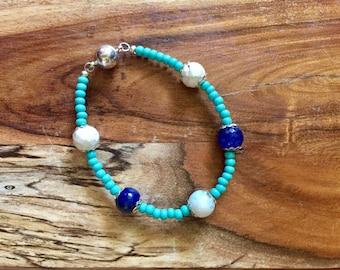 Samantha bracelet in Aqua, White and Navy