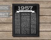 INSTANT DOWNLOAD - 1957 - Printable 60th Birthday or Anniversary Chalkboard Style Facts & Trivia Print Poster - Digital File