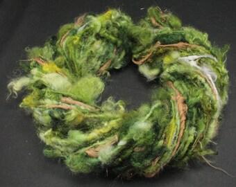 Handspun art yarn Wensleydale  locks and more , 4.5 oz, 59 yards
