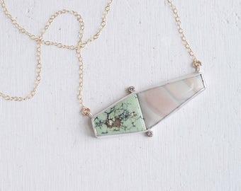 Snowville Variscite, Jasper + Moissanite Necklace   14k Gold Fill + Sterling Silver   One of a Kind