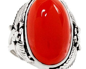 Very Beautiful Carnelian Ring Size 7.5 US, Healing Stone, 925 Silver, One of a Kind