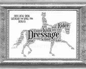 Dressage Showing Horse and Rider Word Art Print Personalised