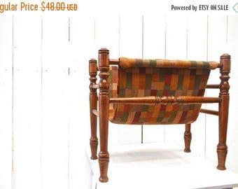 15% OFF Vintage Magazine Rack Wooden Fabric Patchwork Record Holder 1960s Mid Century Storage Decor