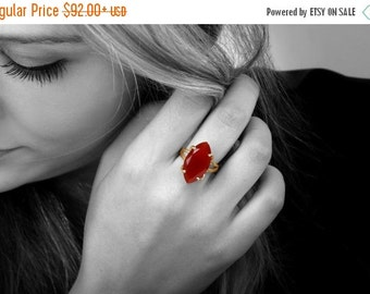 SUMMER SALE - Red onyx ring,marquise ring,red ring,gemstone ring,gold ring,solid gold ring,custom solitaire rings
