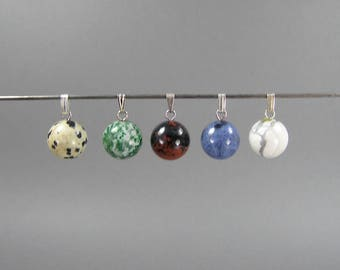Gemstone Pendants, Ball Pendants, 12mms, Bale Included, Jasper, Sodalite, Pendant Lot, White, Spotted, Green, Blue, Brown