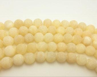 4mm / 6mm / 8 mm / 10mm / 12mm Round Matte Yellow Jade 15''L, 38 cm Loose beads Semiprecious Gemstone Bead Wholesale Beads Supply