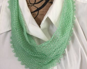 Beaded Scarf Necklace light green and silver Ships free