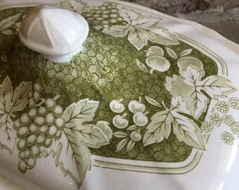 Covered Vegetable Bowl Kensington Ironstone Somerset 1803 Vintage Ironstone Green / White Fruit & Leaves Staffordshire England ~ #D2135