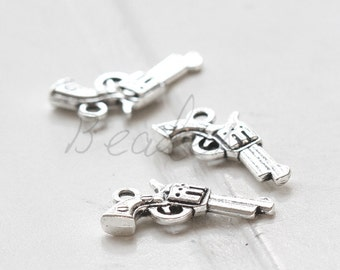20 Pieces / Gun / Oxidized Silver / Charm / 21x11mm (X4653//H419)