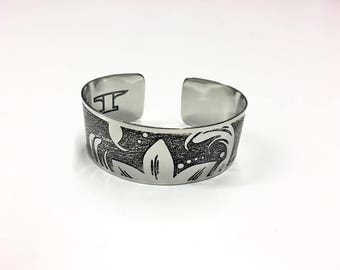 "Flower Petals Cuff - Etched Stainless Steel - 1"" wide"
