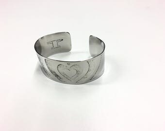 "Echo Heart Cuff - Etched Stainless Steel - 1"" wide"