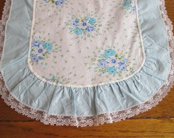 Set of 2--Vintage Dresser Scarves Table Runners Dainty Blue Lavender Flowers Ruffles Lace Excellent
