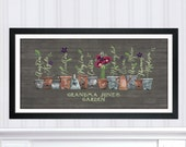 Grandma's Garden Gift, Personalized Gift for Grandma, Christmas Gift for Her, Gift for Gardener, Poppy Flower Family Art, Rustic Wall Art