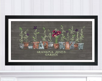 Grandma's Garden Last minute Gift, DIY Digital - Christmas Gift, Gift for Grandma, Gardener, Poppy Flower Family Art, Rustic Wall Art