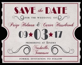 Custom Save the Date Magnet Invitation Listing for Paige Holman - Antique Movie Theater