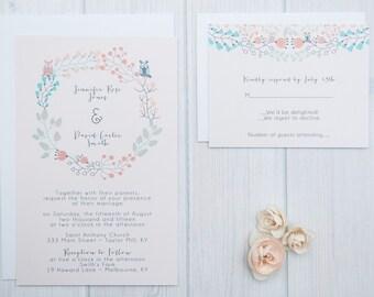 Owl Wedding Invitations | Boho Wedding Invitation | Summer Wedding Invite Set | Coral and Mint Invites | Ivory Wedding Suite | SAMPLE