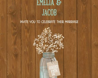 Babys Breath Wedding Invitations, String Light Wedding Invites, Barn Wood Invitation, Custom Listing for ebeccia317