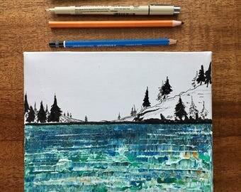READY TO SHIP: 8x8 Abstract Lake Beach Ocean Sea Pastel Greens Blues Nautical Pine Tree Mountain Original Art Lake Michigan