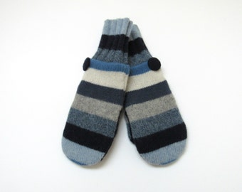 Felted Wool Mittens Fleece Lined Blue Gray and Cream Striped Wool Mittens
