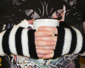 Black and white striped armwarmers