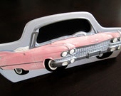 Vintage 1950s Pink Cadillac Ceramic Frame Wall Decor 1980s Exclusive Gifts Japan