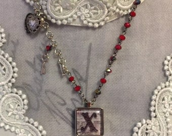 XO - Valentine KISS - Sally Jean Pendant and Hearts Charm Necklace - Two-Sided Initial Letter X Jewelry