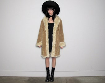 SUEDE & FAUX FUR Lined Vintage Winter Coat 90s Does 70s Womens Size M/L