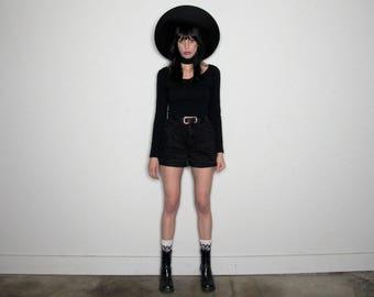 Zena 90s GRUNGE FRAY Cut-Off BLACK Denim Shorts High Rise Waist Size 24/25