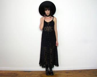 SEMI SHEER MAXI Victoria Secret Black Dress Lingerie 90s Grunge Goth Hearts Vintage Size L