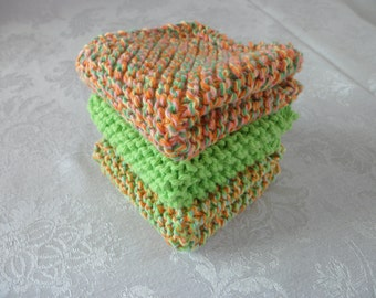 Knit Cotton DishCloths Washcloths Facial Cloths Set of Three
