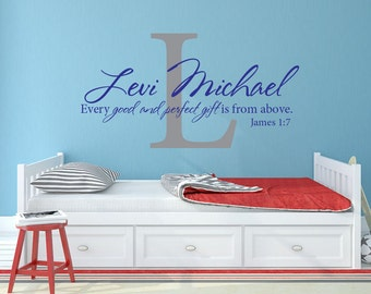 Child's monogram Every good and perfect gift Bible verse scripture vinyl wall decal sticker