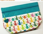 SALE Lil' Big Bottom Bright Calico Kitties Cross Stitch Embroidery Bag