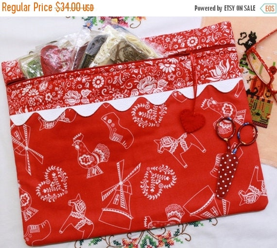 SALE Dutch Red Folk Art Cross Stitch, Sewing, Embroidery Project Bag