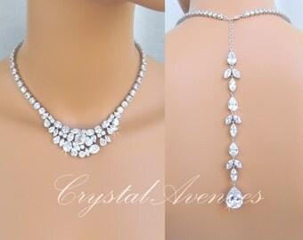 Back Drop Bridal Necklace, Crystal Wedding Necklace, Statement Necklace, Back drop, Crystal Bridal Earrings, Keelin Bridal Jewelry SET