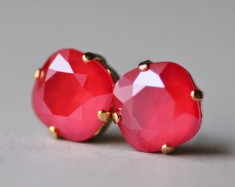 NEW COLOR Swarovski Royal Red Cushion Stud,Swarovski Rhinestone Stud Post,Light Red Opal,12mm Large Stud,Swarovski Crystal,Weddings,Gift