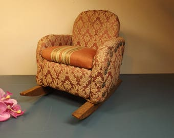 Antique Wooden doll rocking chair with soft seat, sides and back.Doll house furniture.Sturdy ,doll collection, photo shoot, decoration
