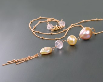 Kasumi Pearl and Rose Quartz Pendant by Agusha. Rose Gold Filled Y Necklace with Baroque Pearl Pendant