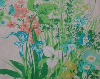 "Vintage Fabric, Original Bloomcraft Screen Print, Cotton Summer Flowers 50"" Wide, 3 Yards 20"""