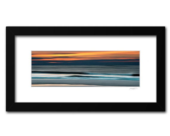 Framed Abstract Ocean Panoramic Fine Art Print, Soothing Waves, Orange and Blue Decor, Ready to Hang 10x20 inch