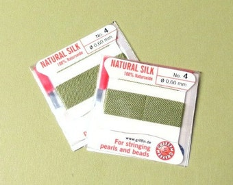Silk Cord - Natural Silk - With Needle - 2 packs - Size 4 - Jade Green
