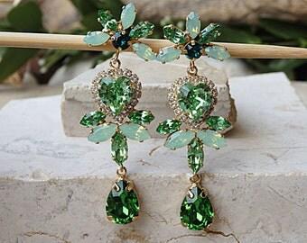 Green heart earrings, Green Prom, Chandelier bridesmaid, Swarovski, Valentines earrings, Emerald, Peridot Mint, Statement jewelry for brides