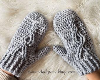 Adult Crochet Mittens Pattern - Child Crochet Mittens Pattern - Crochet Mittens Pattern - Cable Crochet Pattern