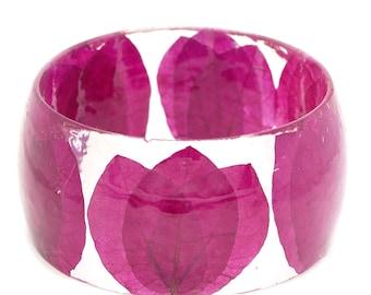 Pink Leaf Bracelet- Pink Flower Bracelet- Pink Jewelry- Real Flower Jewelry- Resin Jewelry- Flower Resin Jewelry- Flower Bangle