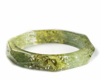 Green Lichen Bracelet- Lichen Bracelet- Forest Jewelry- Resin Jewelry- Flower Bangle- Flower Bracelet