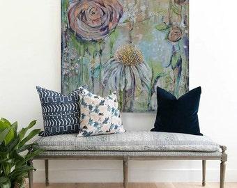 Eden.  Canvas Art Print - Rose Coneflower Garden Pond of Elemental Enchantment
