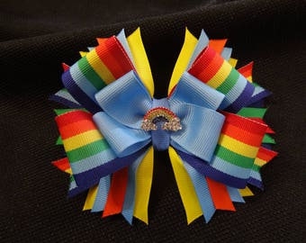 Rainbow bow, large 5 inch hairbow