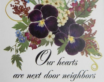 Friend Going Away Gift Real Pressed Flowers Reproduction Pansies Friend Poem Floral Artwork 8 x 10 Mat