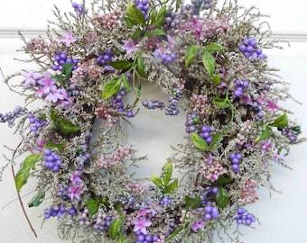 Easter Wreath , Spring Wreath , Easter Door Wreath ,  Easter Door Decor , Purple Wreath , dried Natural Wreath , Indoor Wreath