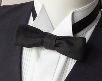 black silk bowtie, skinny style, self tie bow tie, freestyle  - bow tie ships worldwide from Bagzetoile - gifts for men
