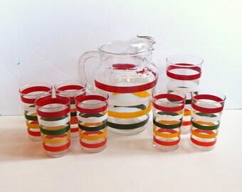 Vintage Fiesta Bands Pitcher Set - Anchor Hocking Fiesta Bands - Striped Pitcher and Glasses - Vintage Kitchen - Red Green Yellow Kitchen